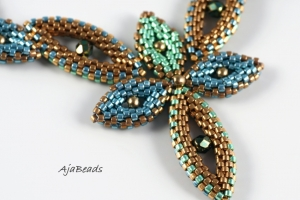 Elfka - modrá-zelená - náhrdelník
