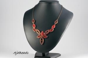 Elfka - červená - náhrdelník