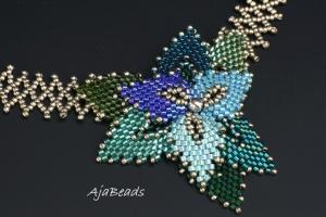 Tanec s listy - modrá-zelená - náhrdelník