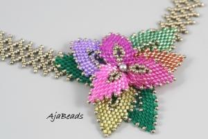 Tanec s listy - růžová-zelená - náhrdelník