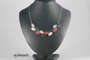 Vavřín - náhrdelník - černá-bílá-červená