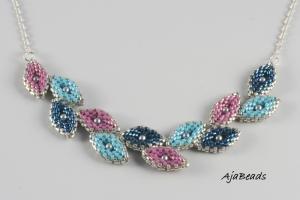 Vavřín - náhrdelník - tyrkysová-fialová